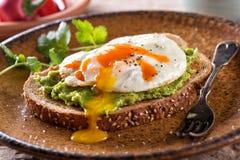 Avocadotoost met Fried Egg en Hete Saus royalty-vrije stock afbeelding