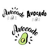 Avocadotypografie het van letters voorzien reeks In embleemmenu, sticker, verpakkingsontwerp voor de markt van het landbouwersvoe vector illustratie