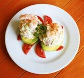 Avocat bourré par fruits de mer Image libre de droits
