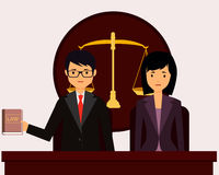 Avocat devant le tribunal illustration stock