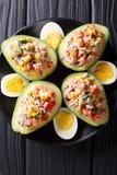 Avocat mûr avec de la salade du thon et des légumes en gros plan Verti images libres de droits