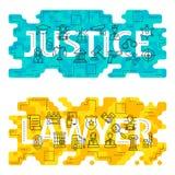 Avocat Outline Flat Concept de justice Image libre de droits