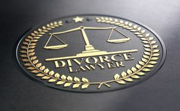 Avocat spécialisé en divorce Over Black Background illustration de vecteur