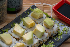 Avocato roll japan food. Japanese food background close diner Stock Photography