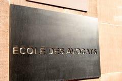 Avocats do DES de Ecole - traduz do francês como escola dos advogados Foto de Stock Royalty Free