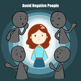 Avoid negative people cartoon  illustration Stock Photos