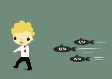 Avoid risk. Businessman running for avoid risk which moving full speed Stock Image