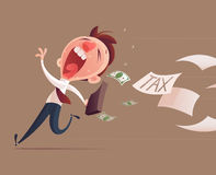 Avoid tax, Business man running away from tax for tax concept Stock Image