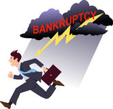 Avoiding bankruptcy. Businessman running from a storm cloud with a lightning and a word bankruptcy written in red stock illustration