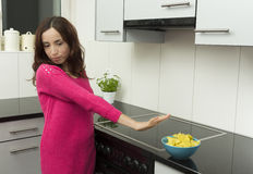 Avoiding unhealthy potato chips royalty free stock images