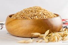 Avoine dans un bol en bois et des épis d'avoine de blé Photo stock