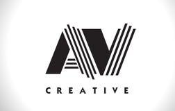 Avoirdupois di progettazione di Logo Letter With Black Lines Linea vettore Illus della lettera Immagine Stock Libera da Diritti
