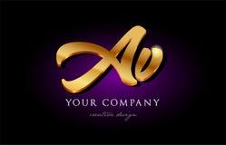 avoirdupois una progettazione dorata h dell'icona di logo del metallo della lettera di alfabeto dell'oro di v 3d illustrazione vettoriale