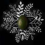 Avokado över den drog blom- handen för översikt Royaltyfri Foto