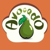 Avokado med titeln på etiketten Klistermärke med den ecoprodukten Royaltyfria Bilder