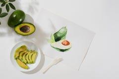 Avokado Tropiskt sommarbegrepp som göras av illustration för teckning för avokadofrukt och hand royaltyfria bilder