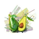 Avokado Vektorillustration av den abstrakta avokadot Stiliserad avokado för din design Arkivbilder
