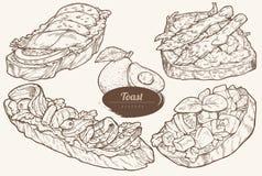 Avokadorostade bröd med olika toppningar royaltyfri illustrationer