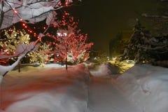 Avon, Colorado Ski Town: O Natal ilumina o mundo das fadas fotografia de stock royalty free