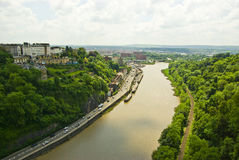 Avon Gorge river. Aerial view of Avon Gorge river with Bristol city in background, England stock photo