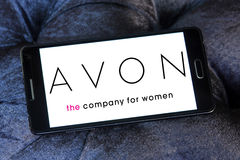 Avon logo. Logo of beauty care company avon on samsung mobile phone stock image