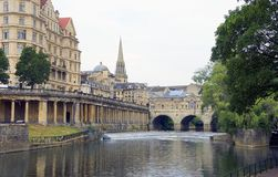 Avon River in Bath, United Kingdom. The Avon River and the city of Bath in the United Kingdom stock photography