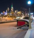 Avond Ottawa bij Kerstmis Stock Afbeeldingen
