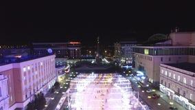 Avond van de Stavropol de centrale straat in de winter stock video