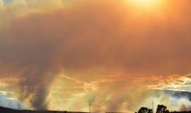 Avond van 1 Juli 2018, de brand van Conrad, Oostelijk Washington State stock afbeelding