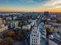 Avond Voronezh Zonsondergang Van de de het Beleidsbouw en Revolutie van de zuidoostenspoorweg vooruitzicht Luchtmening van hommel royalty-vrije stock foto