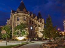 Avond Winnipeg, Canada De bouw van de Universiteit Royalty-vrije Stock Afbeelding