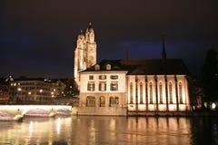Avond Zürich stock afbeelding