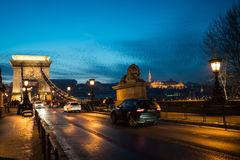 Avondbrug Boedapest Royalty-vrije Stock Foto