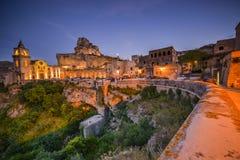 Avondlicht in het centrum van Matera Italië Royalty-vrije Stock Fotografie