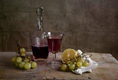 Avondmaal met wijn stock fotografie