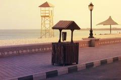 Avondmening van Ajman corniche, Doubai Stock Afbeeldingen