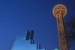 Avondmening van Dallas Van de binnenstad stock afbeelding