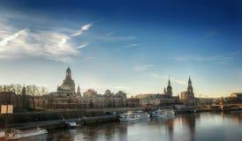 Avondmening van Dresden, Duitsland, December 2017 Stock Foto's