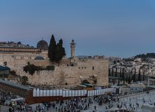 Avondmening van uitgravingen dichtbij de Westelijke Muur in de Oude Stad van Jeruzalem, Israël royalty-vrije stock afbeeldingen