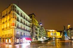 Avondmening van Virgen Blanca Square Vitoria-Gasteiz stock foto
