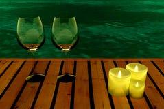 Avondpartij in de pool royalty-vrije stock afbeelding