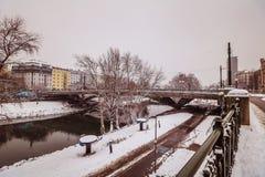 Avondstemming in de Donau in Wenen Stock Foto's