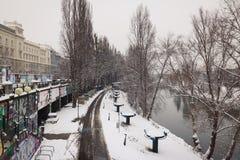Avondstemming in de Donau in Wenen Stock Fotografie
