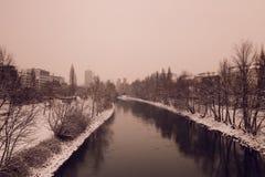 Avondstemming in de Donau in Wenen Royalty-vrije Stock Afbeeldingen