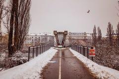 Avondstemming in de Donau in Wenen Royalty-vrije Stock Fotografie