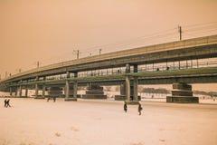Avondstemming in de Donau in Wenen Stock Afbeeldingen