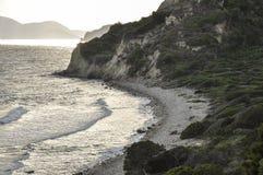 Avondzeegezicht door het strand met hoge kustlijn met flora royalty-vrije stock afbeelding