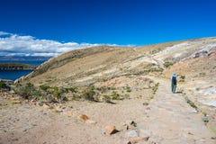 Avonturen op Eiland van de Zon, Titicaca-Meer, Bolivië Royalty-vrije Stock Afbeeldingen