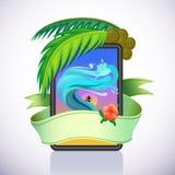 Avontuur dat in Tropisch Eiland surft royalty-vrije illustratie