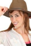 Avontuurlijke vrouw met fedora stock fotografie